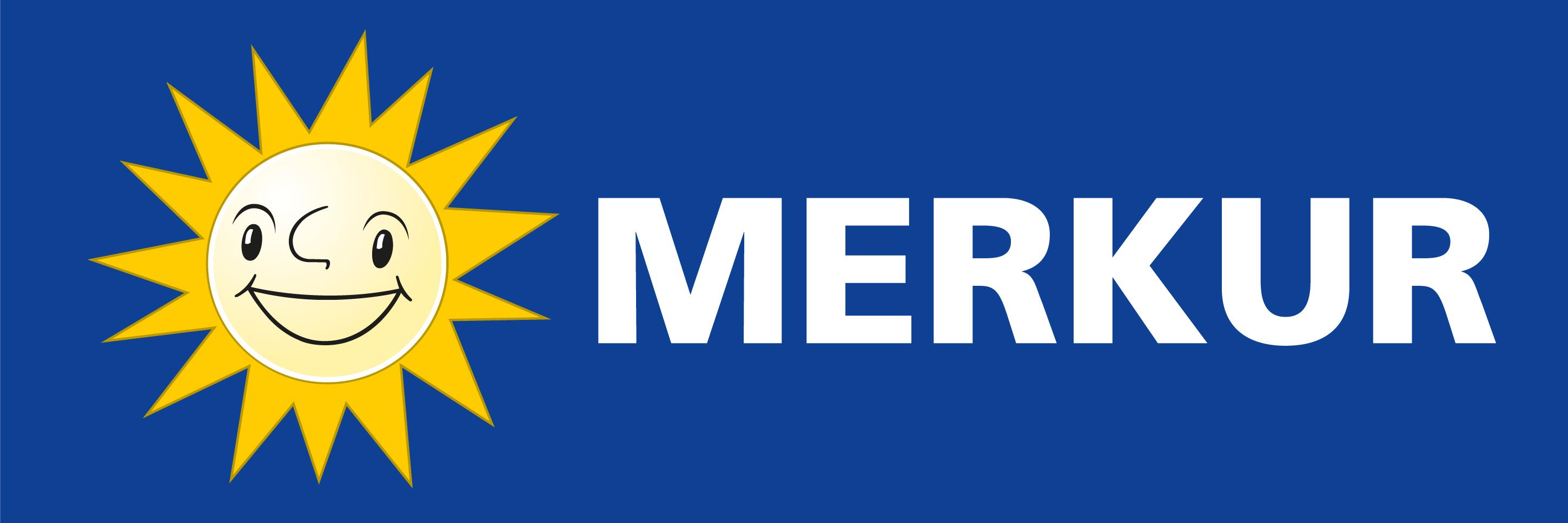 Merkur mit Sonne links auf blau
