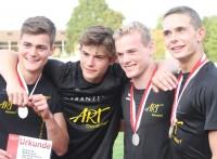 ART-Silber-Boys im Zehnkampf: von links: Sean Roth, Linus Fries, Rasmus Kildahl und Fynn Zenker, der mit neuer Bestleistung von 6924 Punkten Vizemeister wurde.