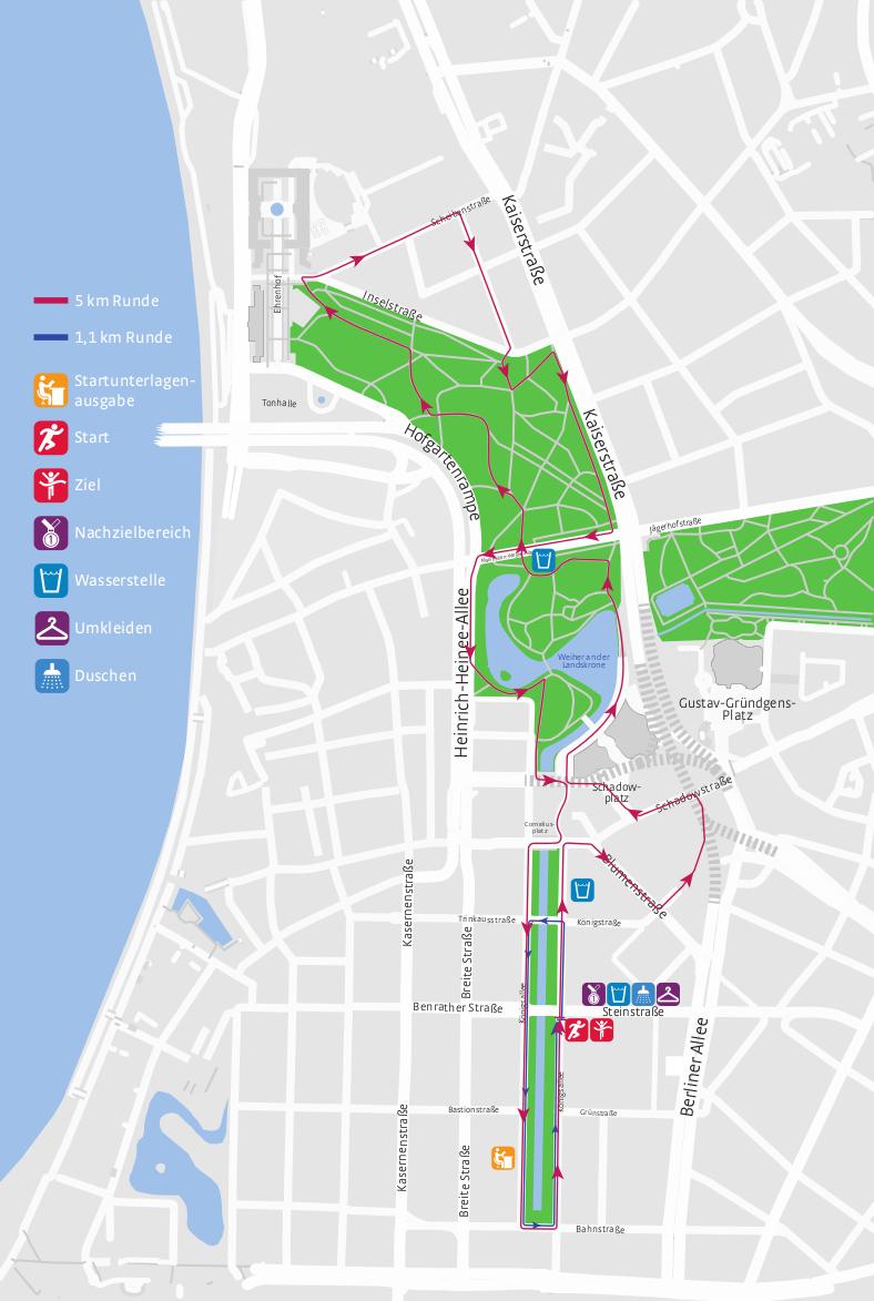 Stadtwerke Duesseldorf Halbmarathon auf der Koe - Streckenfuehrung