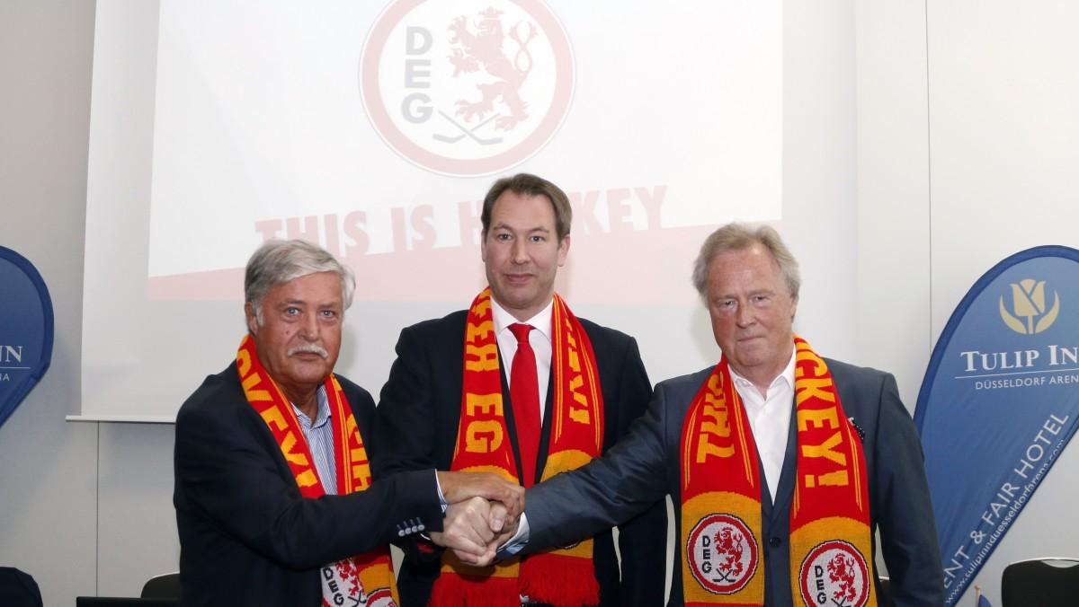 (v.l.: Peter Völkel, Gesellschafter DEG Eishockey GmbH, Stefan Adam, Stephan Hoberg, Gesellschafter DEG Eishockey GmbH )
