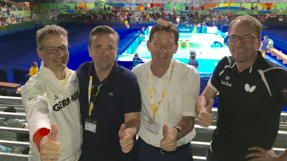 Michael Geiger (DTTB-Präsident), Martin Ammermann (DCSE-Geschäftsführer), Stadtdirektor Burkhard Hintzsche Und  Matthias Vatheuer (DTTB-Generalsekretär) (Foto: Landeshauptstadt Düsseldorf)