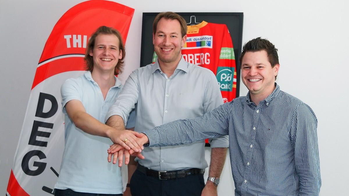 V.l.; Michael Schmitz (Geschäftsführer IT&T GmbH), Stefan Adam (DEG Eishockey GmbH), Tobias Snitzelaar (Geschäftsführer IT&T GmbH)