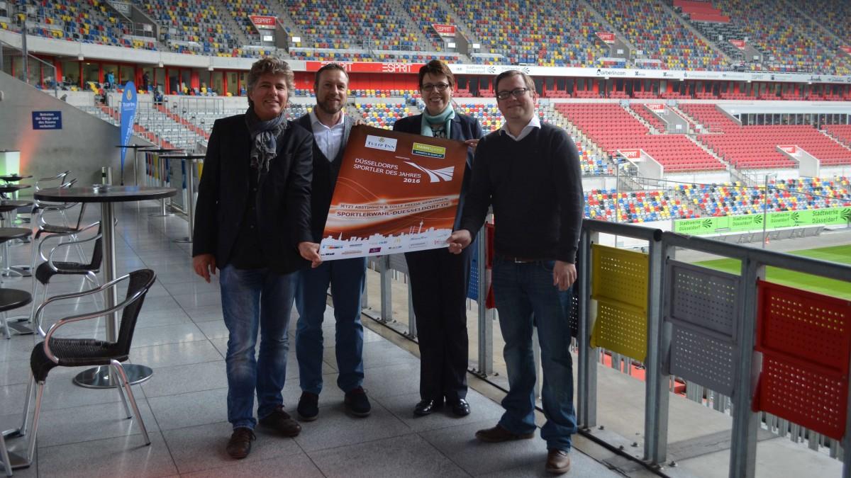 Michael Welling, Markus Wey (Hannspree), Katja Herweg (EVENT & FAIR Hotel Tulip Inn) Und Piet Keusen (Verein Düsseldorfer Sportpresse) Freuen Sich Auf Die Besten Sportler Aus Düsseldorf.