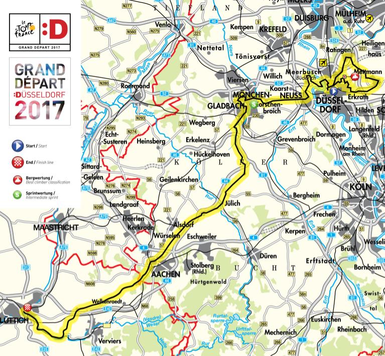 Geplanter Streckenverlauf Der 1 Und 2 Etappe Der Tour De France 2017