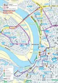 Die Karte zeigt die sieben Flächen auf denen am 2. Juli 2017 Live-Übertragungen gezeigt werden, sowie die vier Event-Flächen mit zusätzlichem Programm