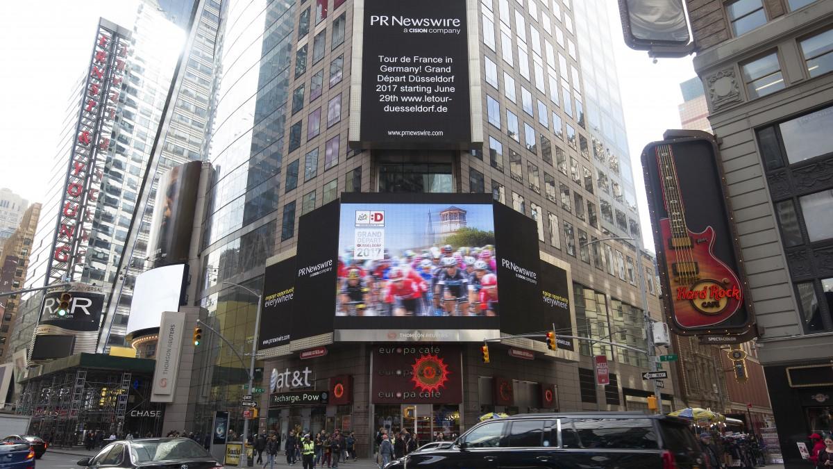 Grand Départ Düsseldorf 2017 Am New Yorker Times Square (Foto: Landeshauptstadt Düsseldorf/PR Newswire)