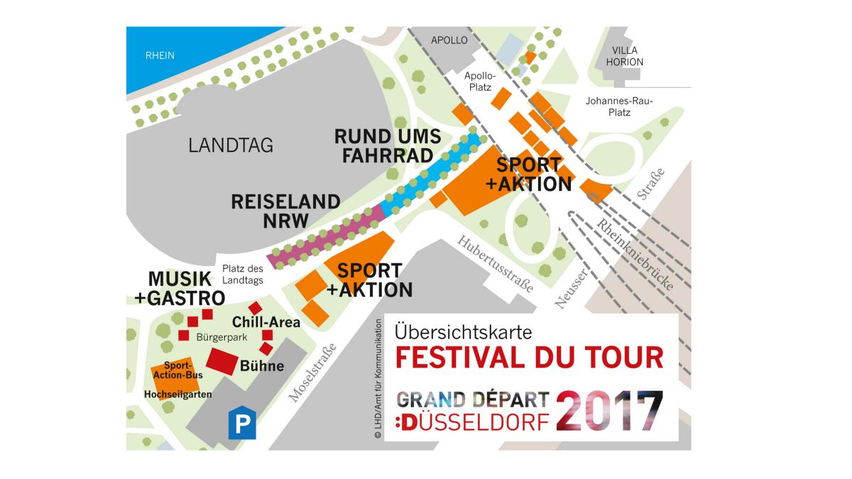 """Übersichtskarte Des """"Festival Du Tour"""" (Landeshauptstadt Düsseldorf/Robert Steinchen)"""