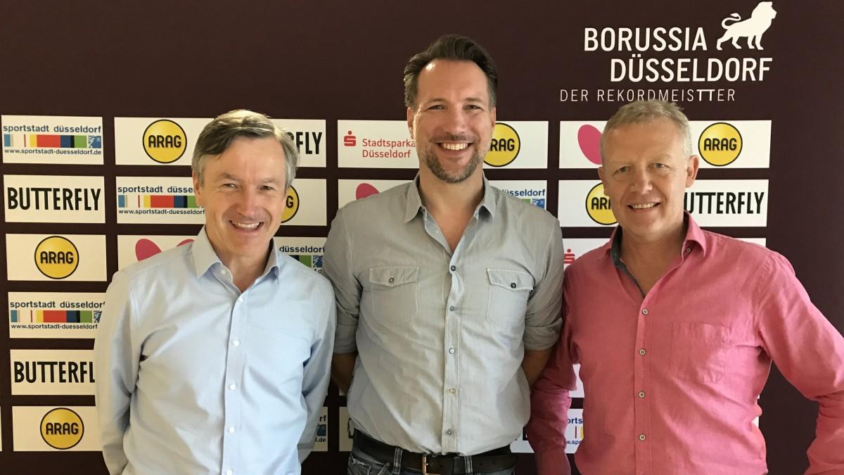 V.l.n.r.: Andreas Preuß (Manager Borussia Düsseldorf), Helge Hollander (Geschäftsführer Von Reservix) Und Jo Pörsch (Geschäftsführer Borussia Düsseldorf) (Foto: Borussia Düsseldorf)