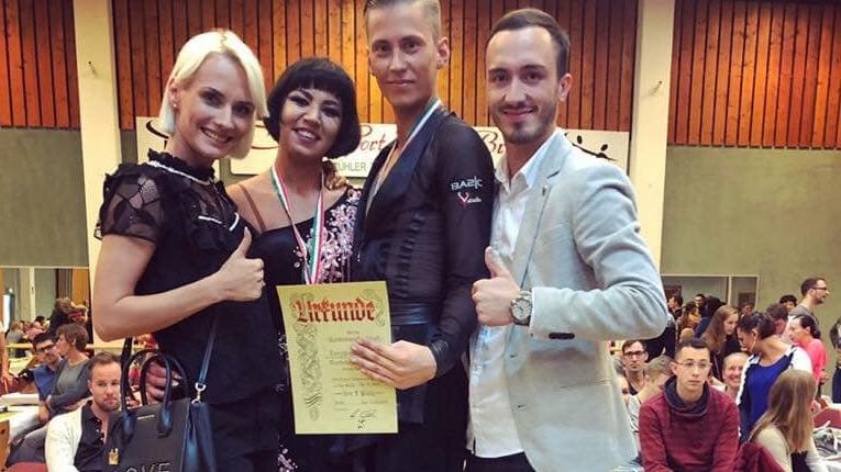 V.l.n.r.: Diana Maidanic (Trainerin), Katharina Snigirev, Timo Kennel, Vadim Lehmann (Trainer)