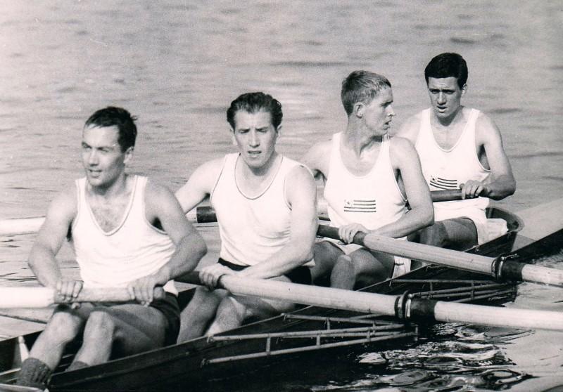 1959 DM-Gold im Vierer, Vierer, Kluth, Hendrix, Uellner, Schroers (Foto: Privatarchiv)