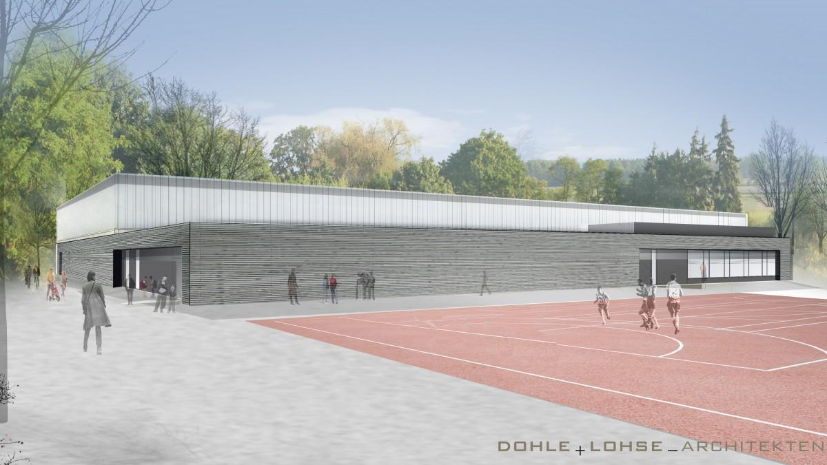 Animation Der Neuen Zweifach-Sporthalle Der Gesamtschule Stettiner Straße (Landeshauptstadt Düsseldorf/IPM)