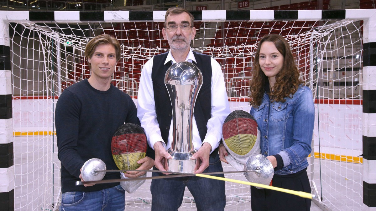 Peter Joppich, Andreas Thiel, Justiziar DKB Handball-Bundesliga, Und Anna Limbach (Foto: Anke Hesse)