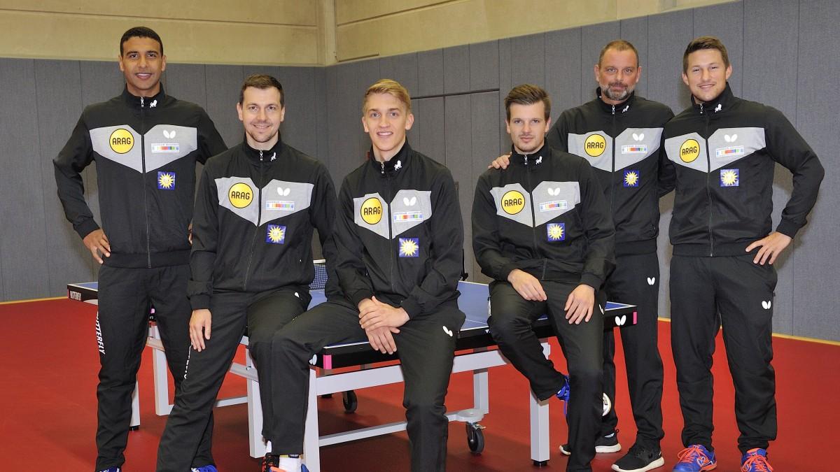 (v.l.n.r.): Omar Assar, Timo Boll, Anton Källberg, Ricardo Walther, Danny Heister (Chefcoach) Und Kristian Karlsson (Foto: MaJo-Foto)