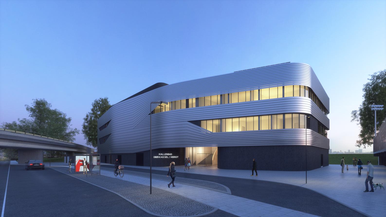 Animation Blick Auf Den Eingang Des Neuen Gebäudekomplexes An Der Pariser Straße 41 (Bädergesellschaft Düsseldorf)